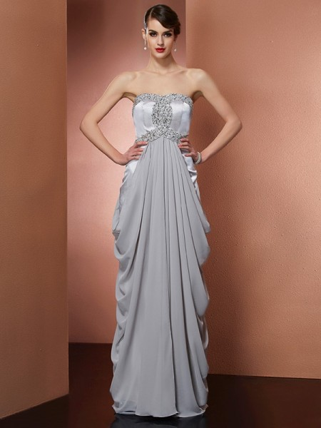 Column Strapless Sleeveless Floor-Length Chiffon Dresses with Beading