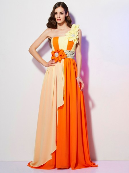 One-Shoulder Sweep/Brush Train Chiffon Dresses with Beading