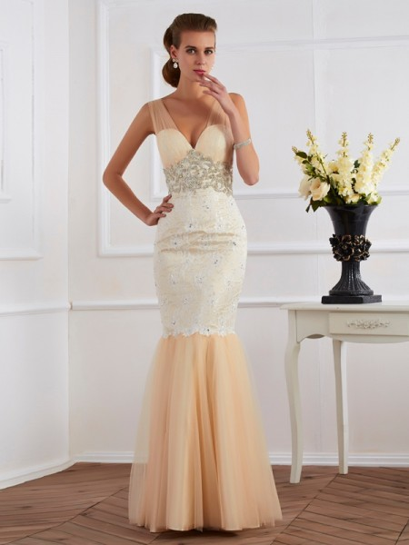 Trumpet/Mermaid Sleeveless V-neck Floor-length Net Lace Dresses with Beading