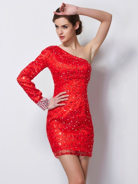 Sheath/Column One-Shoulder Long Sleeves Elastic Woven Satin Short Cocktail/Homecoming Dresses with Beading
