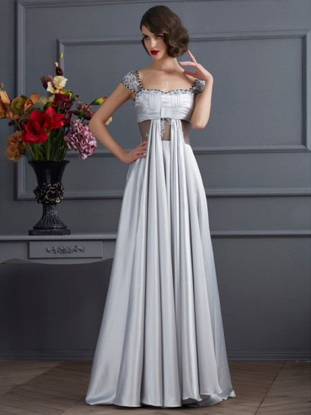 A-Line/Princess Off-the-Shoulder Sleeveless Elastic Woven Satin Dresses with Pleats