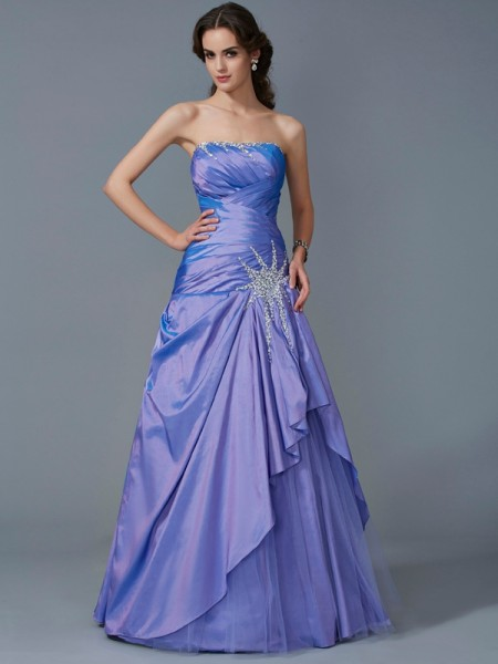 Trumpet/Mermaid Strapless Sleeveless Taffeta Long Dresses with Beading