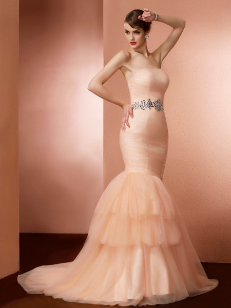 Trumpet/Mermaid Strapless Sleeveless Sweep/Brush Train Net Dresses with Beading