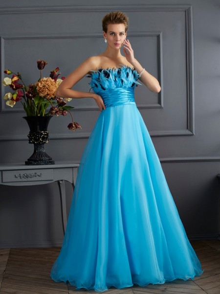 A-Line/Princess Strapless Chiffon Sleeveless Long Dresses