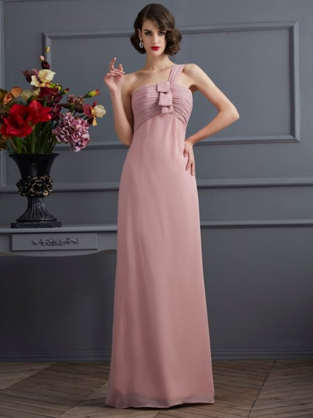 Sheath/Column One-Shoulder Floor-Length Chiffon Bridesmaid Dresses with Pleats