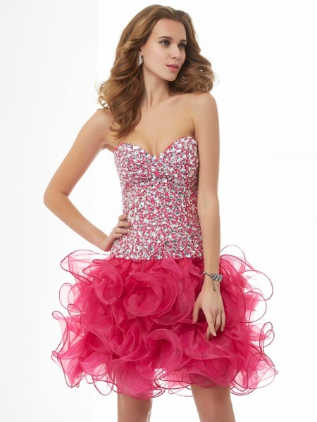 Column Sweetheart Sleeveless Organza Short Cocktail/Homecoming Dresses with Beading