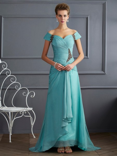 A-Line/Princess Off-the-Shoulder Sleeveless Sweep/Brush Train Chiffon Dresses with Beading