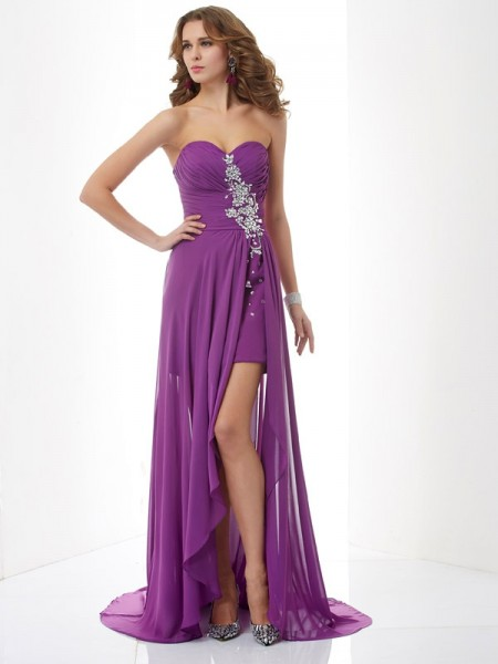 Princess Sweetheart Sweep/Brush Train Chiffon Prom/Evening/Formal Dresses with Beading