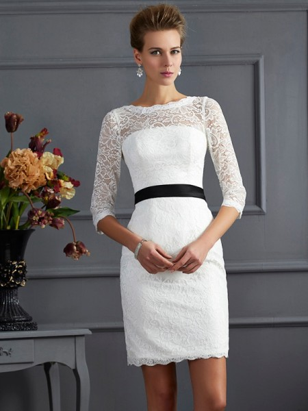 Sheath/Column Scoop 3/4 Sleeves Short/Mini Lace Dresses with Sash/Ribbon/Belt