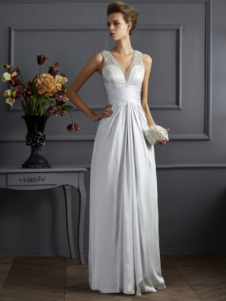 A-Line/Princess Straps Sleeveless Silk like Satin Long Dresses with Beading