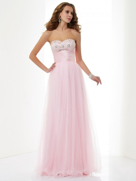A-Line/Princess Sweetheart Sleeveless Elastic Woven Satin Long Dresses with Beading