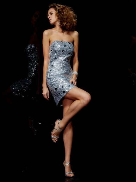 Sheath/Column Sleeveless Strapless Paillette Short/Mini Lace Dresses