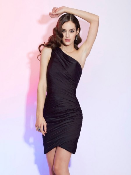 Sheath One-Shoulder Sleeveless Chiffon Short Cocktail/Homecoming Dresses with Pleats