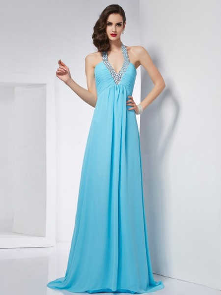 A-Line/Princess Halter Sleeveless Chiffon Sweep/Brush Train Dresses