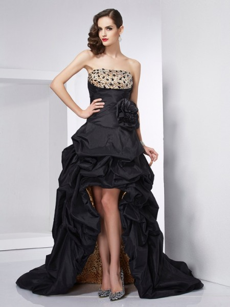 A-Line/Princess Strapless Sleeveless Taffeta Asymmetrical Dresses with Beading