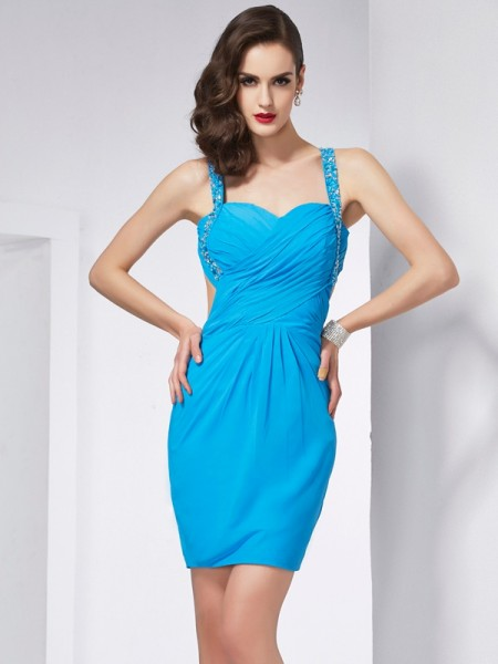 Column Spaghetti Straps Sleeveless Chiffon Short Cocktail/Homecoming Dresses with Beading