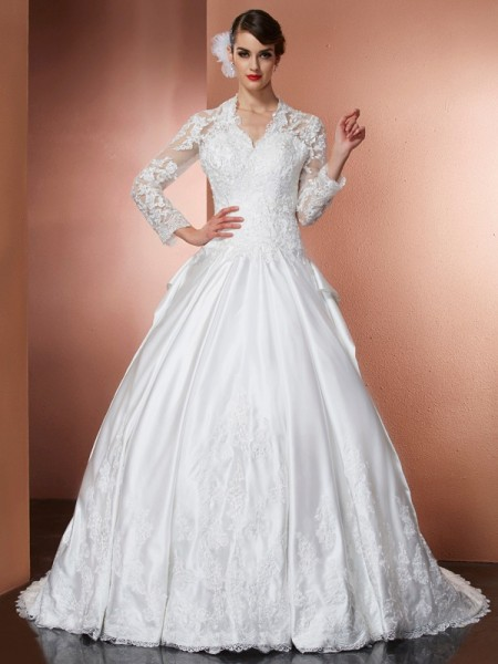 A-Line/Princess V-Neck Long Sleeves Cathedral Train Satin Wedding Dresses with Applique