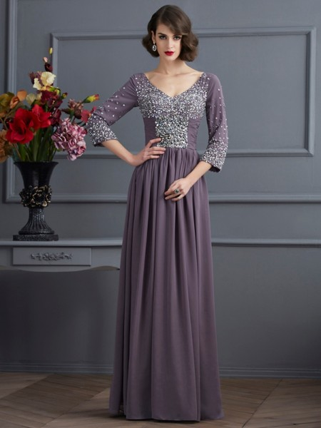 A-Line/Princess V-neck 3/4 Sleeves Chiffon Long Dresses with Beading