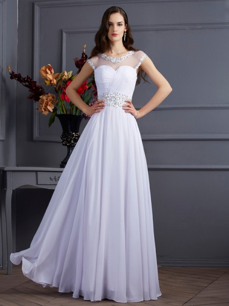 A-Line/Princess Chiffon Bateau Short Sleeves Floor-Length Prom/Evening Dresses with Beading