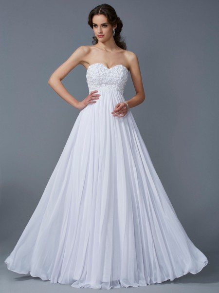 A-Line/Princess Sweetheart Sleeveless Chiffon Long Dresses with Ruffles