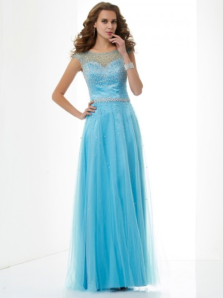 Sheath/Column High Neck Sleeveless Floor-Length Net Dresses with Beading