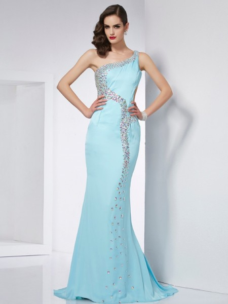 Trumpet/Mermaid One-Shoulder Sleeveless Sweep/Brush Train Chiffon Dresses with Beading