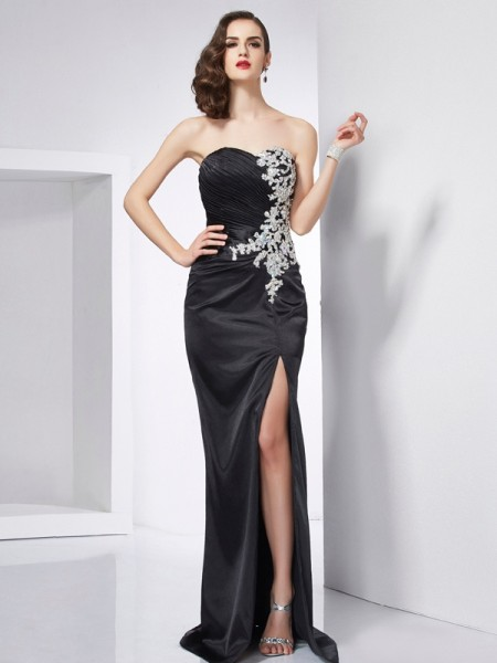 Trumpet/Mermaid Sweetheart Sleeveless Sweep/Brush Train Elastic Woven Satin Dresses with Beading