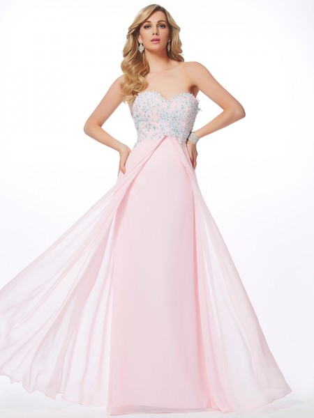 Sheath/Column Sweetheart Sleeveless Chiffon Long Dresses with Applique with Beading