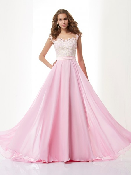 A-line/Princess Scoop Chiffon Sweep/Brush Train Dresses with Applique with Beading