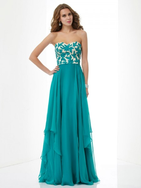 A-line/Princess Sweetheart Sleeveless Floor-length Chiffon Evening/Prom/Formal with Applique