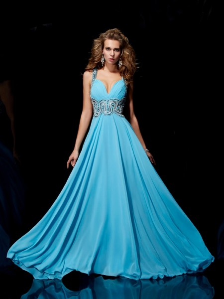 A-Line/Princess Straps Sleeveless Sweep/Brush Train Chiffon Evening/Prom/Formal with Beading
