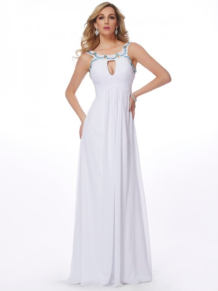 Sheath/Column Scoop Sleeveless Chiffon Sweep/Brush Train Dresses with Beading