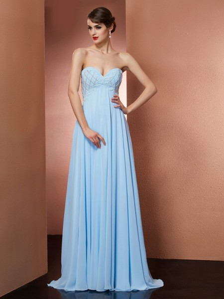 A-Line/Princess Sweetheart Sleeveless Floor-Length Chiffon Evening/Prom/Formal with Beading