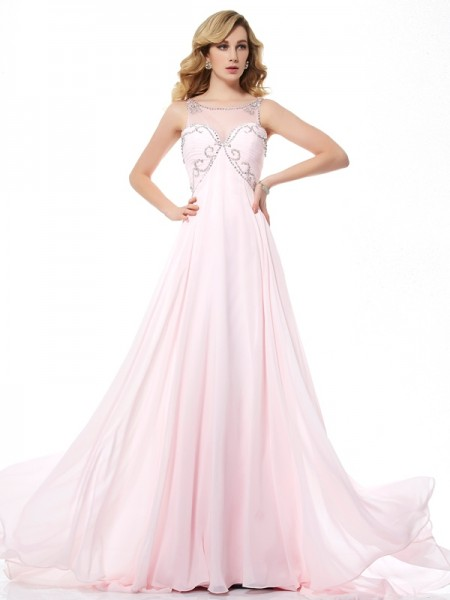A-Line/Princess Sleeveless Scoop Chiffon Sweep/Brush Train Dresses with Beading