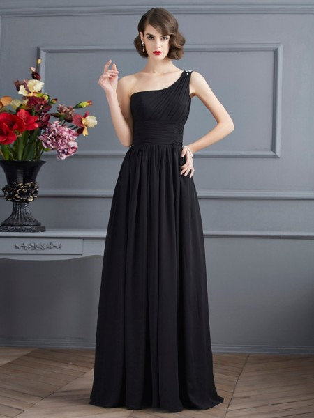 A-Line/Princess One-Shoulder Sleeveless Floor-Length Chiffon Dresses