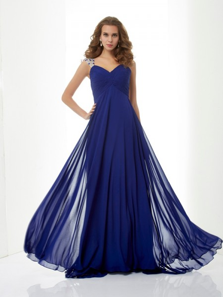 A-Line/Princess Straps Sleeveless Chiffon Sweep/Brush Train Dresses with Beading