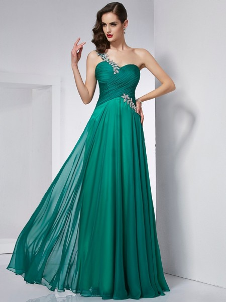 A-Line/Princess One-Shoulder Sleeveless Chiffon Long Dresses