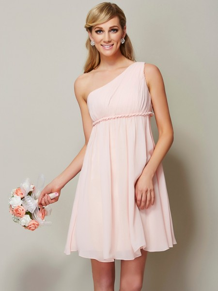 A-Line One-Shoulder Sleeveless Knee-Length Chiffon Bridesmaid Dresses
