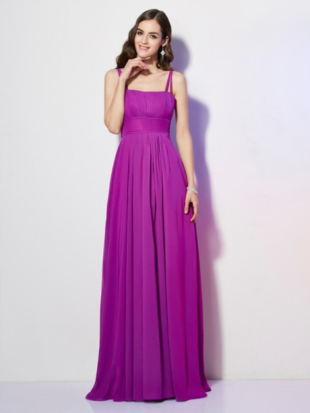 Sheath/Column Spaghetti Straps Sleeveless Chiffon Long Dresses with Pleats