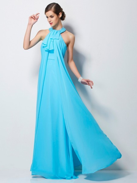 Sheath/Column Sleeveless Floor-Length Chiffon Dresses with Beading