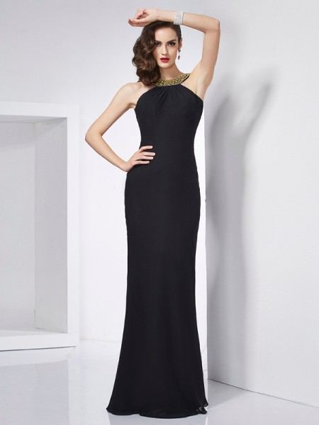 Trumpet/Mermaid Jewel Sleeveless Floor-Length Chiffon Dresses with Beading