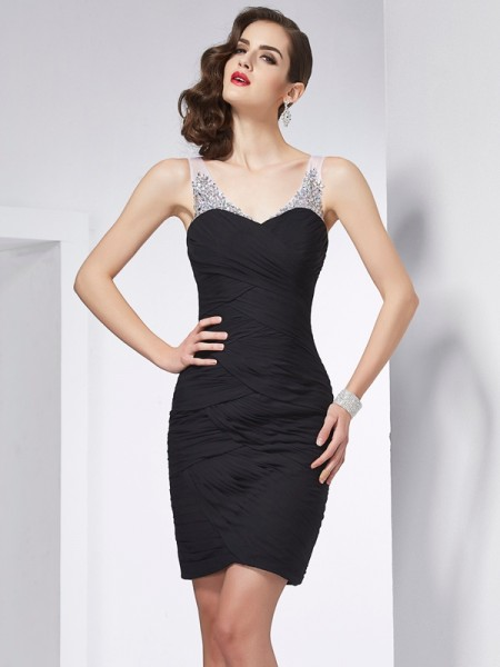 Sheath/Column Straps Sleeveless Chiffon Short Cocktail/Homecoming Dresses with Beading