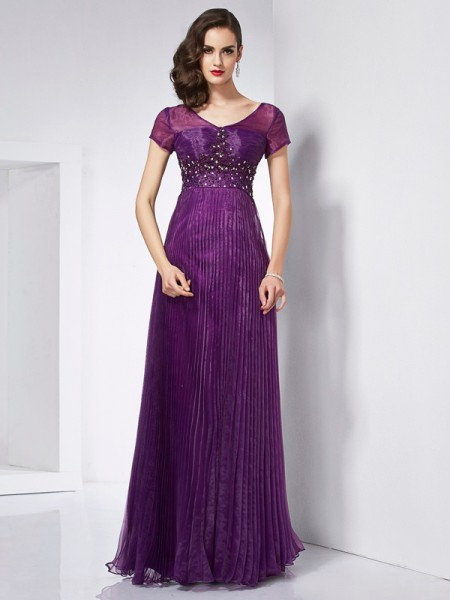 A-Line/Princess V-neck Short Sleeves Organza Long Dresses with Beading