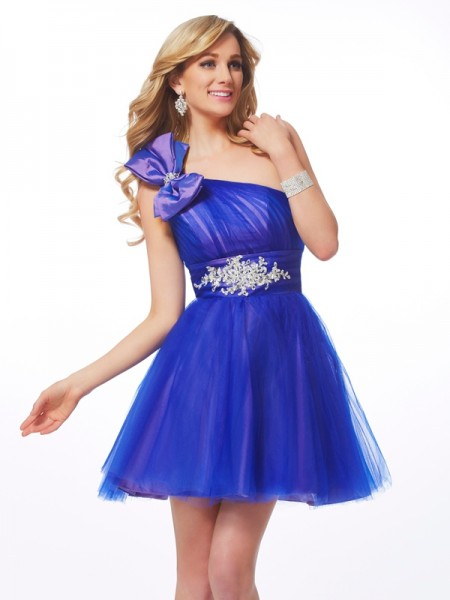 A-Line-Line/Princess One-Shoulder Sleeveless Short/Mini Net Dresses with Beading