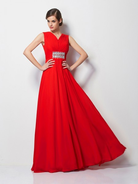 Sheath/Column V-neck Short Sleeves Chiffon Long Prom/Evening Dresses with Beading