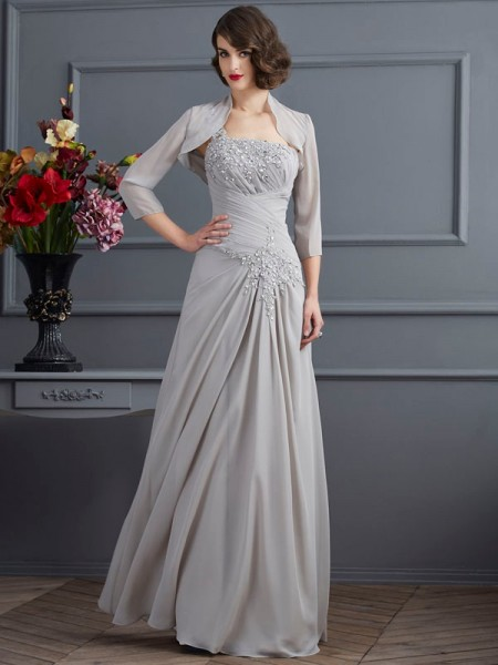 A-Line/Princess One-Shoulder Sleeveless Chiffon Floor-Length Mother of the Bride Dresses