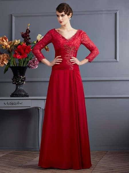 A-Line/Princess Chiffon 3/4 Sleeves Floor-Length V-neck Dresses