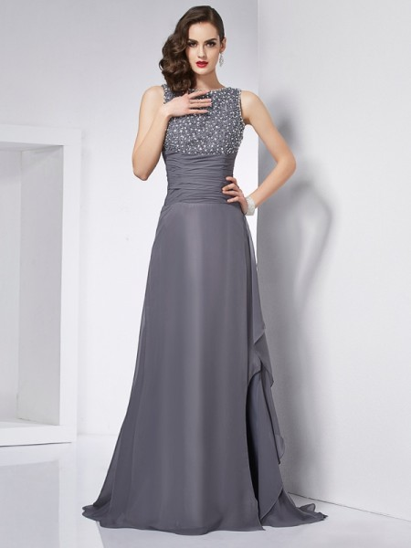 A-Line/Princess Jewel Sleeveless Chiffon Sweep/Brush Train Dresses with Beading