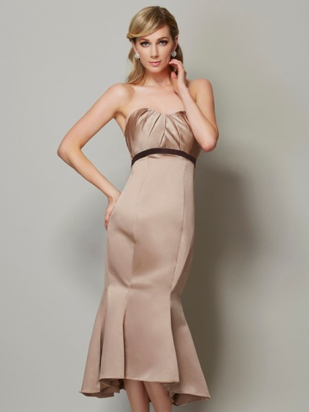 Sheath/Column Sweetheart Sleeveless Satin Tea-Length Dresses with Sash/Ribbon/Belt