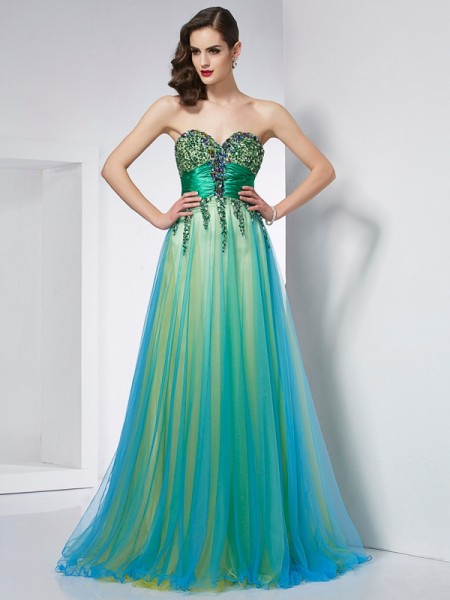 Ball Gown Sweetheart Sleeveless Elastic Woven Satin Sweep/Brush Train Dresses with Ruffles
